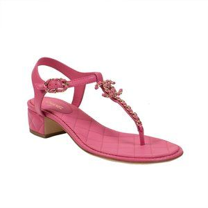 CHANEL Quilted Leather Logo Thongs Sandals 6/37